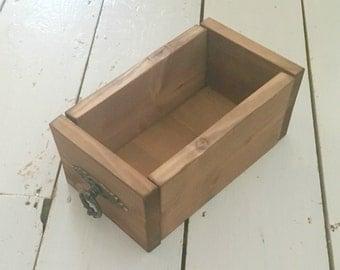 Stained Wood Desk Tidy, Office Organisation, Craft Room Storage, Kitchen Storage Trug, Bathroom Storage, Vintage Style Drawer Storage Trug