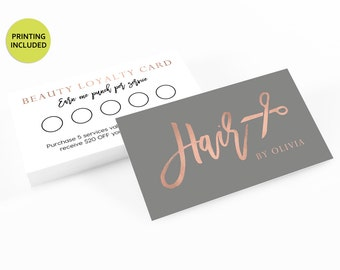 Rose Gold Loyalty Printed Cards - business cards,business card design,custom business card,cards,printing,hair,stylist,referral