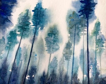 Forest watercolor, forest painting, watercolor trees, tree watercolor, Misty forest, forest landscape, landscape watercolor, tree tops