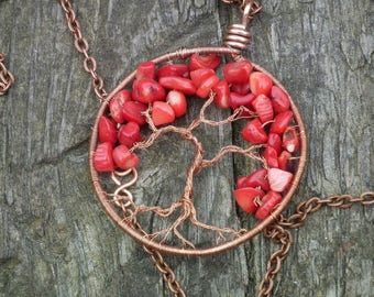 Yggdrasil, Tree of life copper wire and red jasper necklace, chakra jewelry