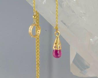 Solid Gold Gemstone Lariat 22K Gold Lariat Necklace