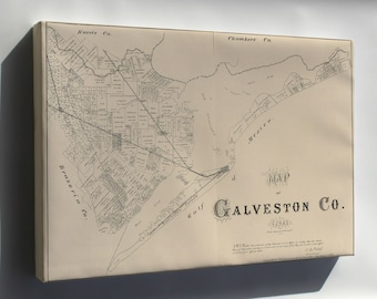 Canvas 24x36; Map Of Galveston Co., Texas 1879