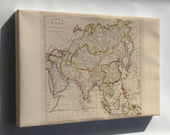 Canvas 24x36; Map Of Asia 1814