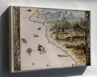 Canvas 24x36; First Map Of Australia From Nicholas Vallard'S Atlas, 1547