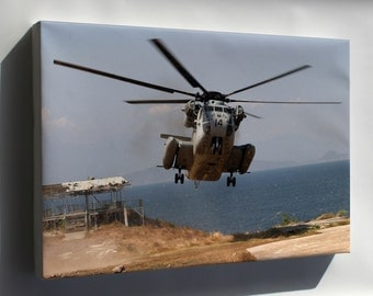 "Canvas 24x36; Ch-53 ""Sea Stallion"" Helicopter Arrives At Fort Ternate"