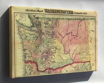 Canvas 16x24; Map Of Washingtonter Washington State 1878