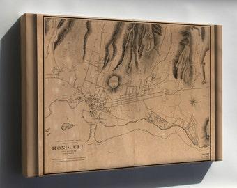Canvas 16x24; Map Of Honolulu Hawaii And Vicinity 1887