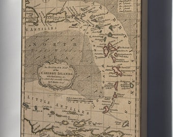 Canvas 16x24; Map Of Caribby Islands Puerto Rico Caribbean 1759