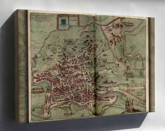 Canvas 16x24; Map Of Rome 1570