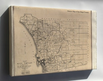 Canvas 16x24; Map Of San Diego County California 1911