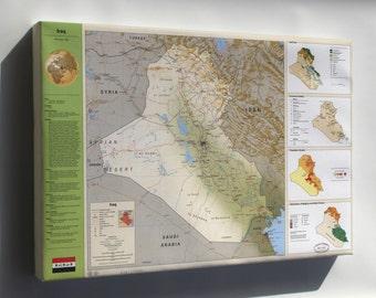 Canvas 16x24; Cia Iraq Summary Map 1994