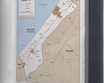 Canvas 16x24; Cia Map Israel Settlements Gaza Strip Sept 1984