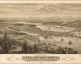 16x24 Poster; Bird'S Eye View Map Of The City Of Olympia, East Olympia And Tumwater, Puget Sound, Washington Territory, 1879