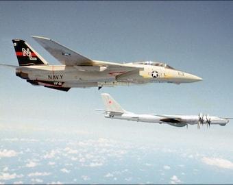 16x24 Poster; F-14 Tomcat (Vf-51) Intercepts Soviet Tu-95Rts Bear D 1979
