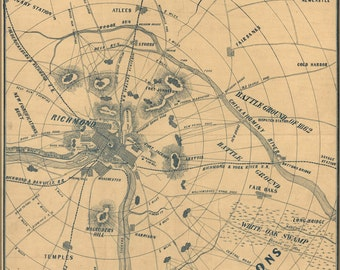 16x24 Poster; Map Of Richmond Virginia 1864