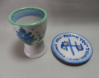 M A Hadley Goblet-Style Cup and Thank You Plate