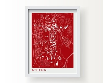 ATHENS GEORGIA Map Print - graphic drawing art poster UGA Bulldogs