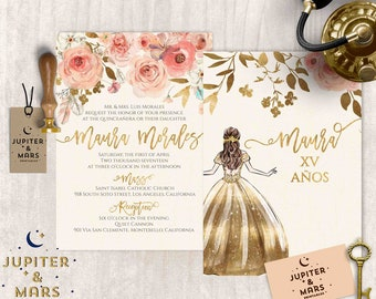Boho Chic Quinceañera Invitation, Quinceanera Invitation, Invitacion de Quinceñera Oro, Watercolor Floral, Feathers, Gold Type DIGITAL FILE