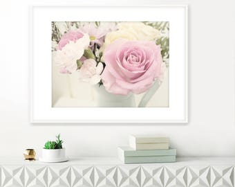 Vintage Roses Photograph, Printable Floral Art, Extra Large Wall Art, Fine art Flower Photograph, Pink Decor, Instant Download