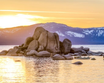 Golden Hour, Lake Tahoe photography, Rock formations, Golden sky, landscape photography, Nevada photography, Magnificent sunset, soft orange