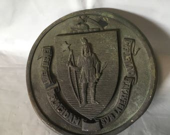 Massachusetts bronze plaque or state seal
