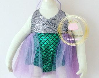 Mermaid romper - 1st birthday mermaid outfit - mermaid birthday outfit - mermaid romper tutu - merbabe set