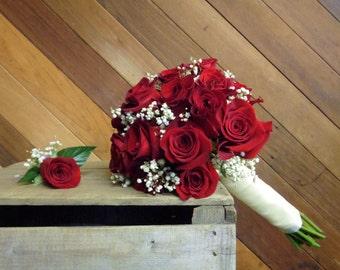 Red Rose Wedding Bouquet, Wedding Bouquet, Red Wedding, Bride Bouquet, Babys breath bouquet, Goth wedding, Goth bouquet, Bridal Bouquet