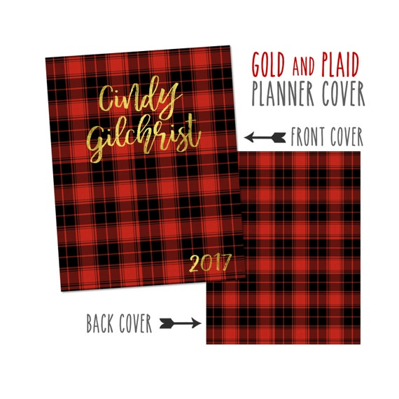 Personalized Planner Cover ~ Gold and Plaid ~ Choose Cover only or Cover Set - Many Planner Sizes Available!