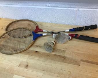 Badminton racquets and birdies vintage game