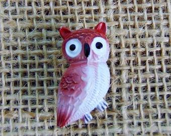 Vintage Red Owl Brooch Pin