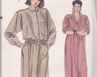 Vogue 7689 Vintage Pattern Womens Loose Fitting Button Down Dress in 2 Lengths Size 16 UNCUT