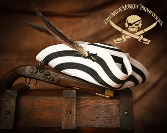Black and White Pirate Tricorn Hat