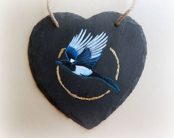 Painted Slate Heart - Magpie