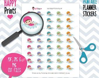 Kawaii swimming girl Printable Planner Stickers.
