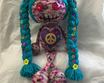Knit hippie doll