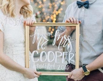 Custom Wedding Glass Sign
