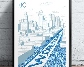 Kansas City World Champs Parade Screen Printed Poster