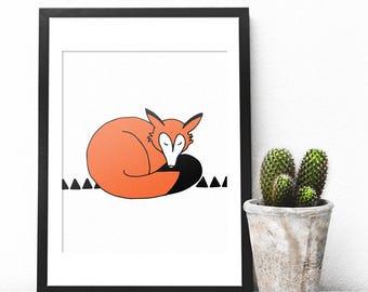 Fox Print, Fox Printable, Fox Gift, Fox Wall Art, Fox Wall Decor, Woodland Fox, Wilderness Wall Art, Sleeping Fox, Cute Nursery Art, Forest
