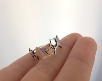 Sterling Silver Star Ring – Cool Ring with Solid and Cutout Stars