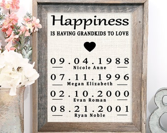 FREE SHIPPING! Personalized Mother's Day Gift for Grandmother | Grandma Gift | Mothers Day Burlap Print | Grandchildren Birth Dates Wall Art