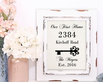Our First Home Sign, Burlap Print | House Warming Gift | Personalized Wedding Gift | Burlap Address Sign