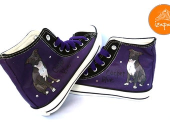 Pitbull Shoes, High Tops, Sneakers, Hand Painted sneakers, dog shoes, Hand Painted shoes, canvas shoes, boots, hand painted boots, dogs