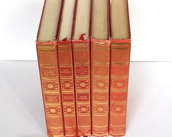 Decorative Books - International Collectors Library Set - Books for Decor - Red Book Bundle - Books Vintage - Red Book Set - Classic Books
