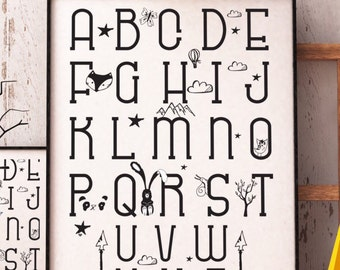Black and white Alphabet Print, abc print, Scandinavian, Scandinavian alphabet, bedroom decor, nursery decor, nursery art, childrens abc