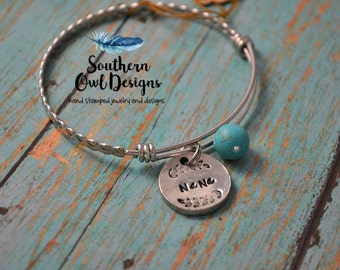 nana bracelet, hand stamped nana bracelet, nana bangle bracelet, mother's day gift, gift for her, nana charm bracelet