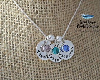 hand stamped Mother's necklace, hand stamped mom necklace, grandmothers necklace, sterling silver,  mom birthstone necklace, nana necklace
