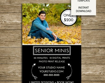 Senior Mini Session -Photography Studio Marketing - 5x7 Photoshop Template - ***INSTANT DOWNLOAD***