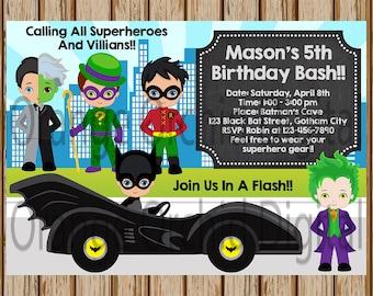 "Boys Superhero and Villians Invitations- Joker Invitations- Batman and Robin Invitations- Riddler - 5"" x 7"" size- Digital- Print at Home"