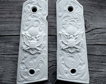 Colt 1911 Government & Magwell Model 45 Grips Ivory w/ Scroll Work, Carved Eagles also Fits Clones