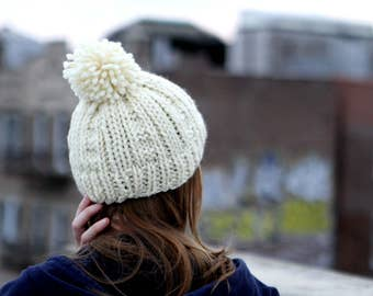 Chutes and Ladders Hand Knit Hat with Pom